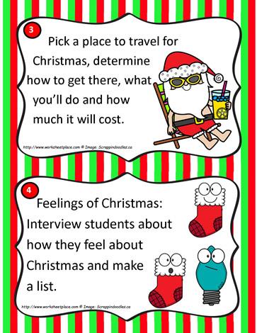 Christmas Task Cards Worksheets