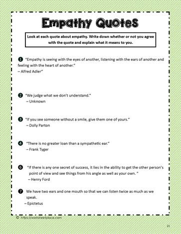Empathy Quotes For Kids : empathy, quotes, Empathy, Quotes, Worksheets