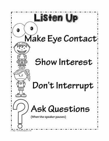 Listening Skills Poster Worksheets