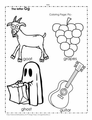 The Letter G Coloring Pictures Worksheets