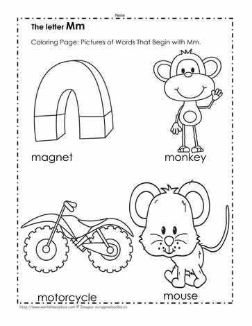 The Letter M Coloring Pictures Worksheets