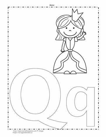 Q Coloring Page : coloring, Letter, Coloring, Worksheets