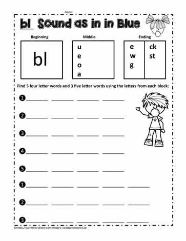 br Blend Build Words Worksheets
