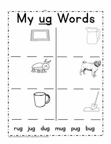 Print ug Words Worksheets