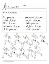 Ordinal Numbers to 10 Worksheets