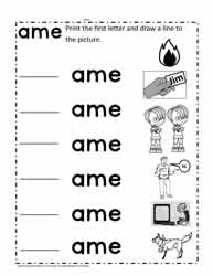 ame Word Family Worksheets