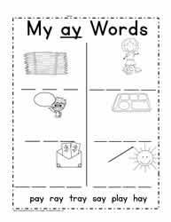 ay Word Family Worksheets