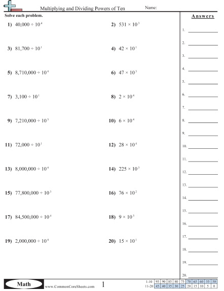 Base Ten Exponents Worksheet