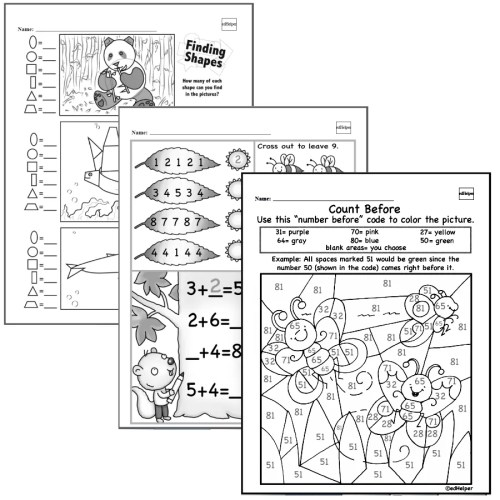 small resolution of Kindergarten Math Worksheets - Free Printable Math PDFs   edHelper.com
