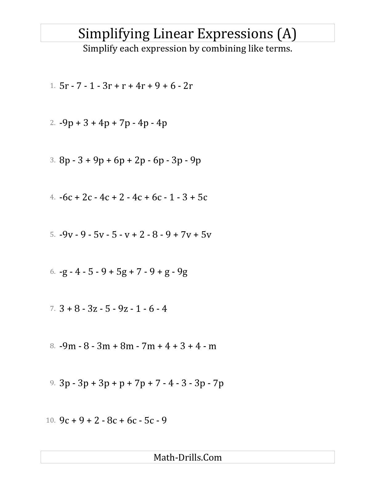 hight resolution of 9 Best Algebraic Expressions Worksheets images on Worksheets Ideas