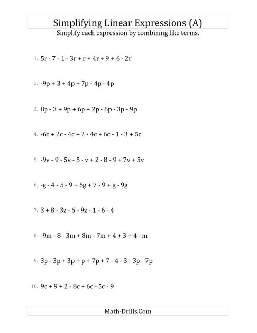 small resolution of 9 Best Algebraic Expressions Worksheets images on Worksheets Ideas
