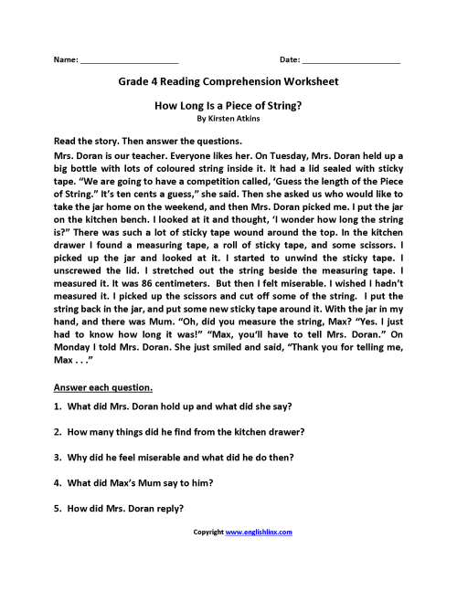 small resolution of 27 Best Reading Comprehension Worksheets Grade 4 images on Worksheets Ideas