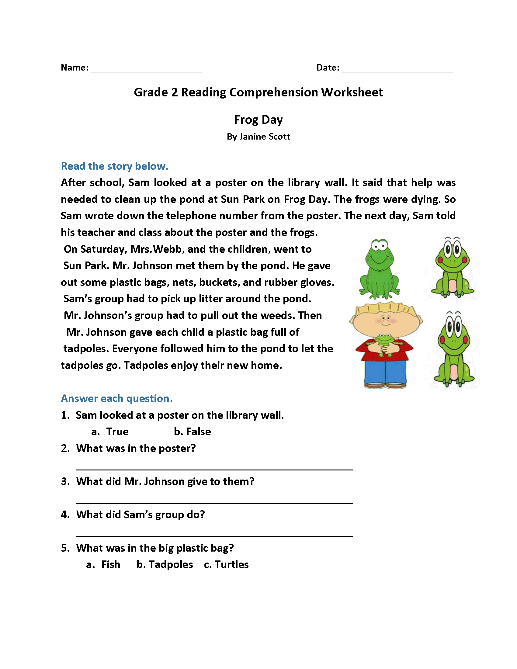 2nd Grade Reading Worksheets