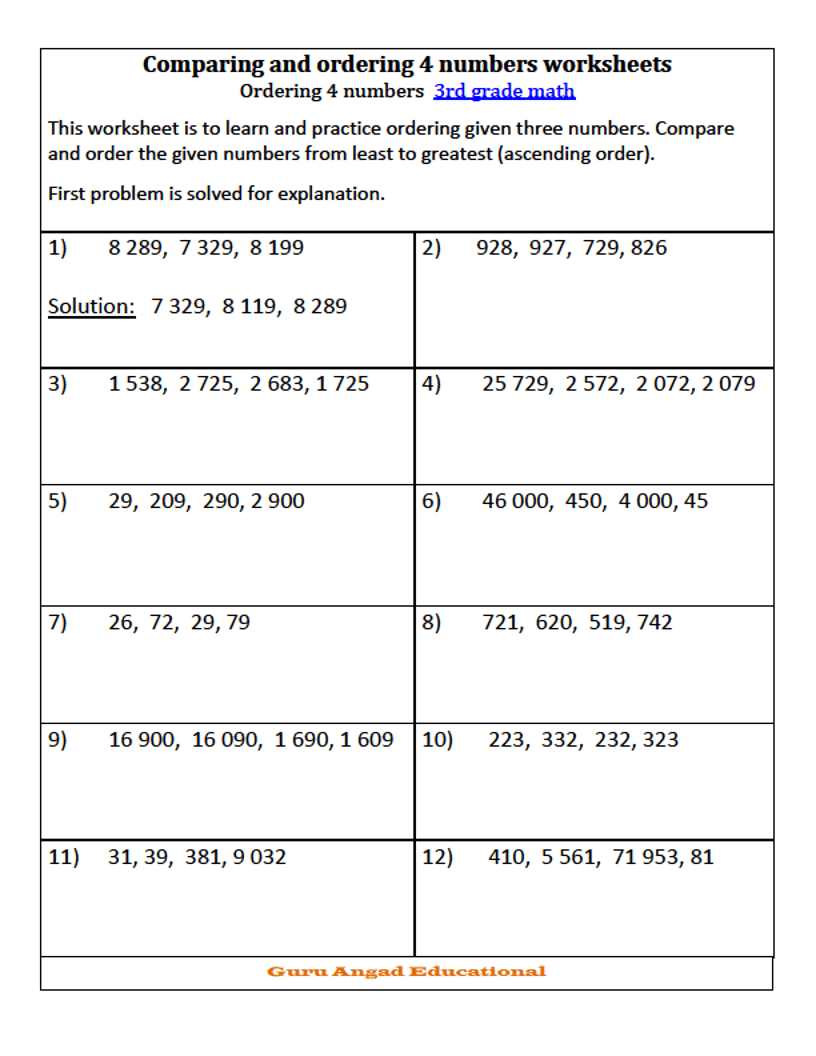hight resolution of 16 Best Ordering Numbers Worksheets images on Worksheets Ideas