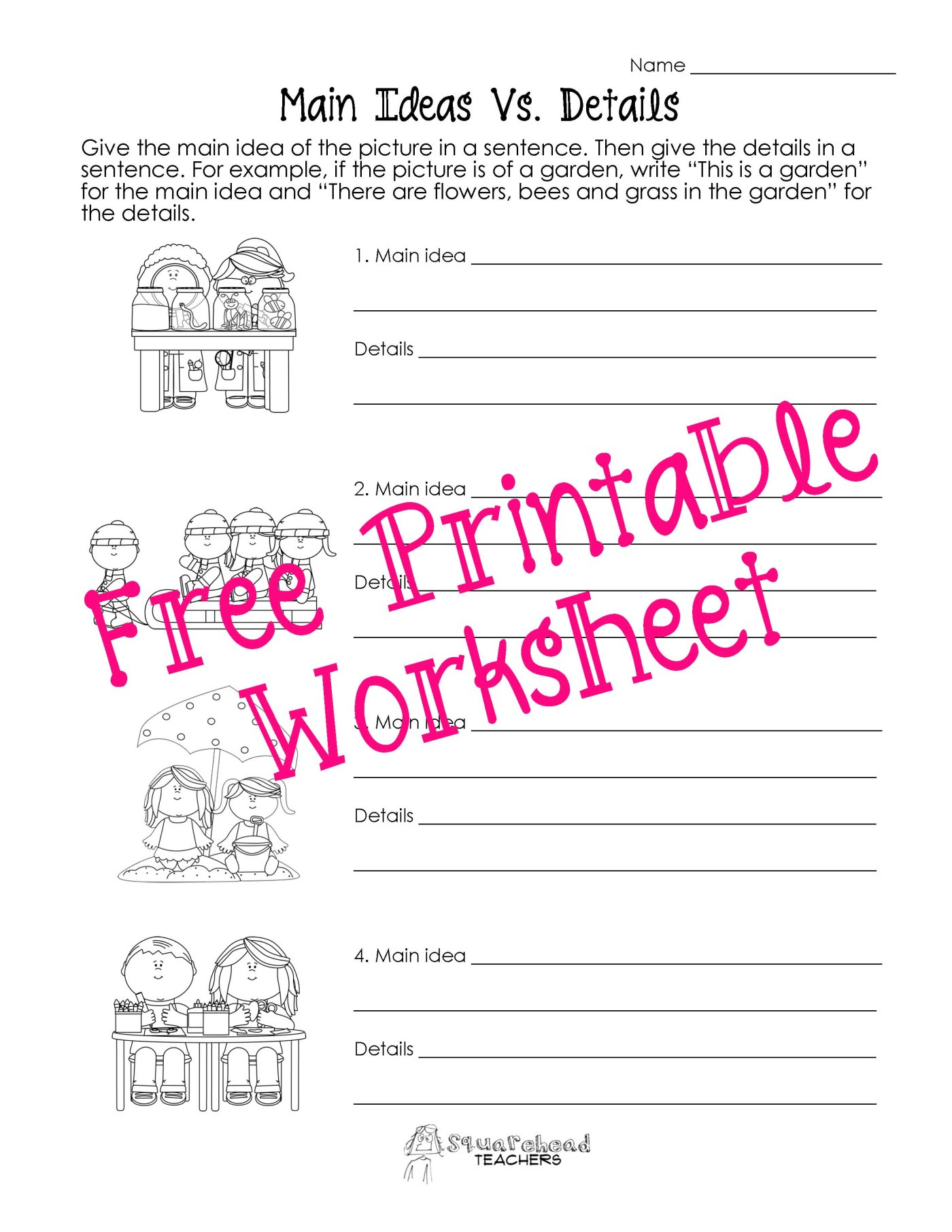 Main Idea Worksheets 2nd Grade To Free Download
