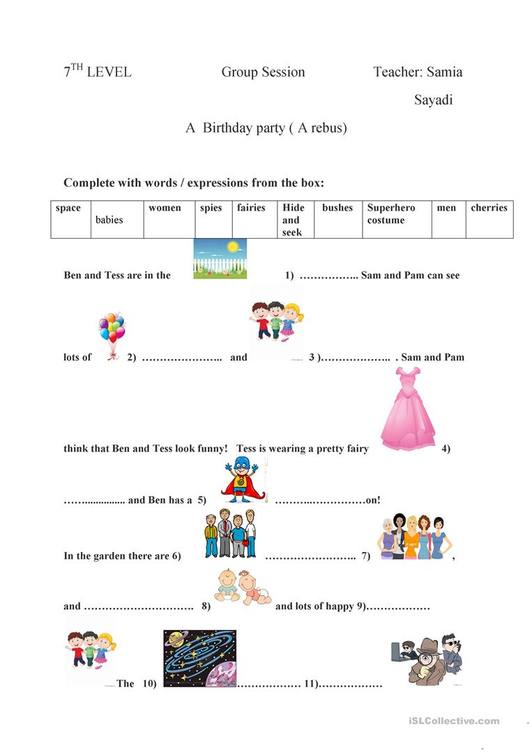 medium resolution of A Birthday Party (a Rebus) - English Esl Worksheets on Worksheets Ideas 6168