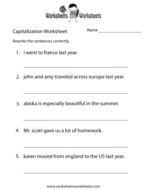 small resolution of Capitalization Worksheets   Capitalization Practice on Worksheets Ideas 5029