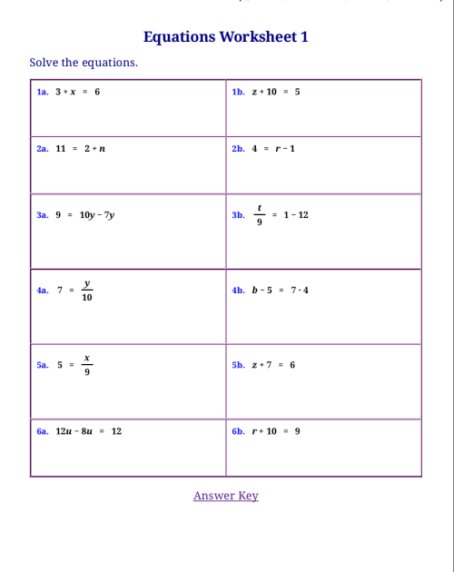 small resolution of Homeschool Math Blog: Free Worksheets For Linear Equations on Worksheets  Ideas 7087