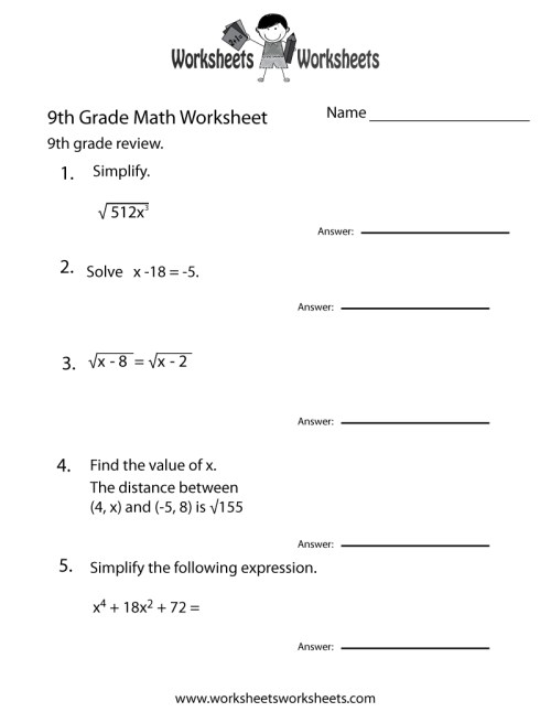 small resolution of 15 Best Ninth Grade Math Worksheets images on Worksheets Ideas