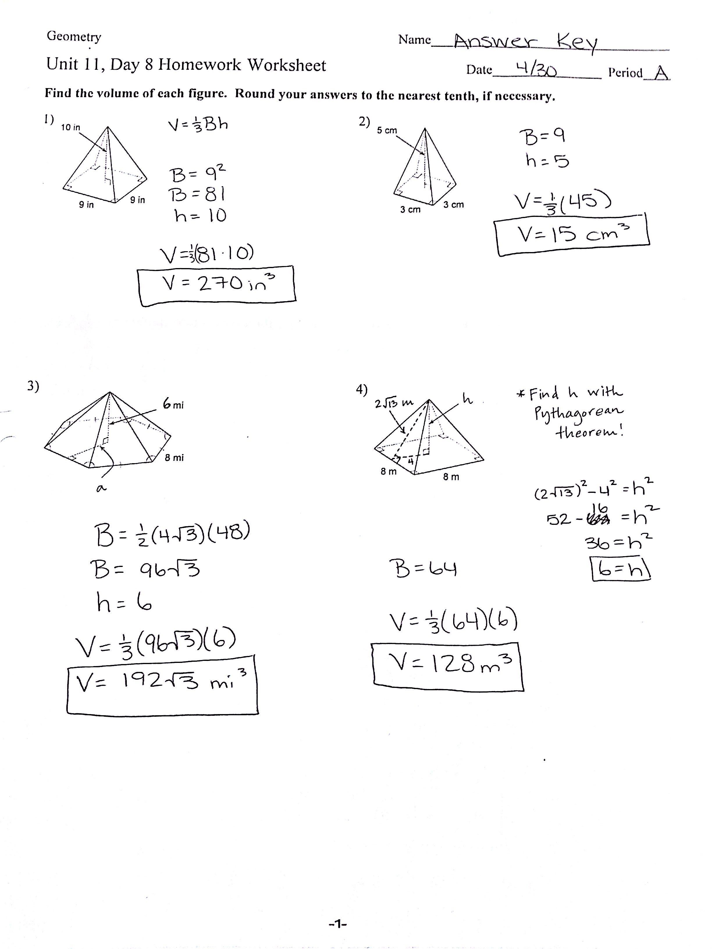 Surface Area And Volume Worksheets With Answers