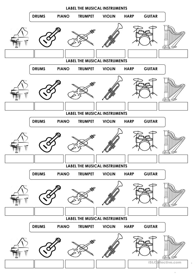 medium resolution of Label The Musical Instruments - English Esl Worksheets on Worksheets Ideas  4936