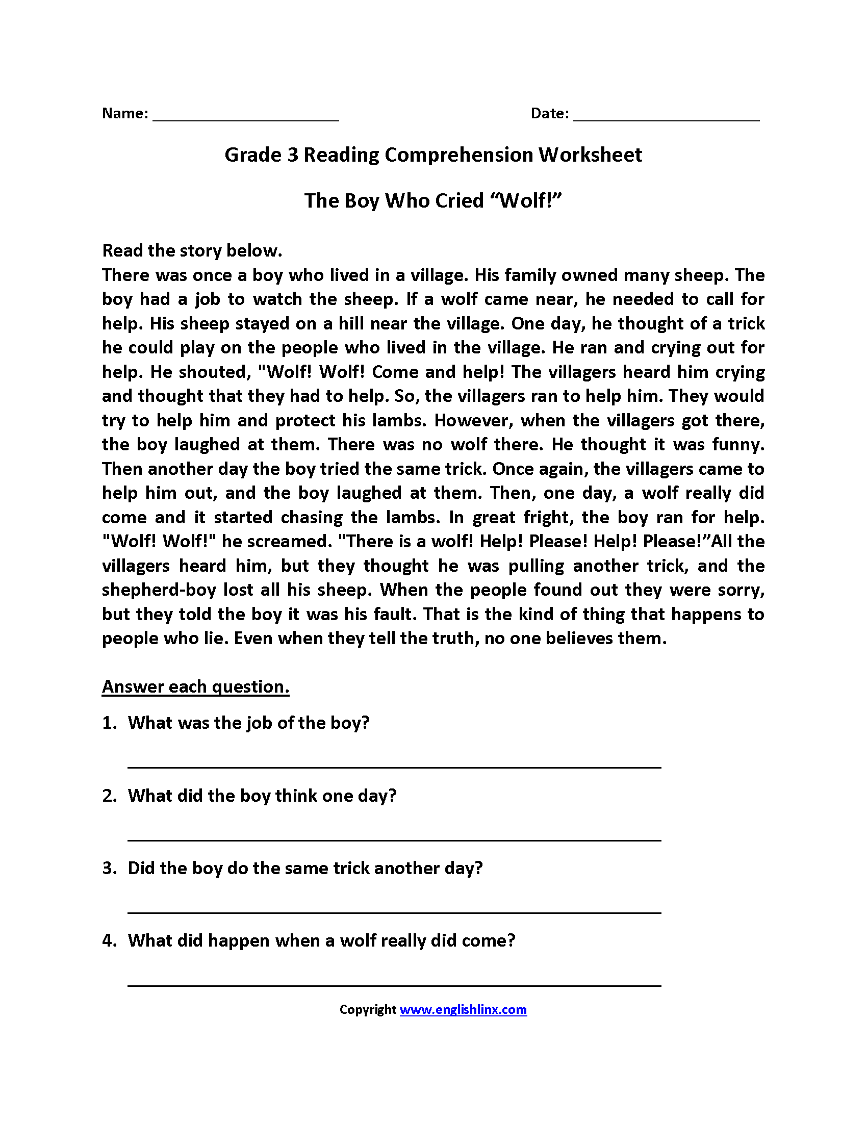 Boy Who Cried Wolf Third Grade Reading Worksheets