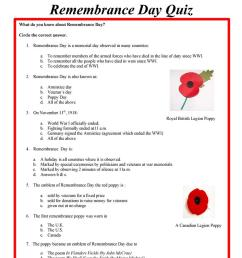 Remembrance Day Quiz - English Esl Worksheets on Worksheets Ideas 3196 [ 1079 x 763 Pixel ]