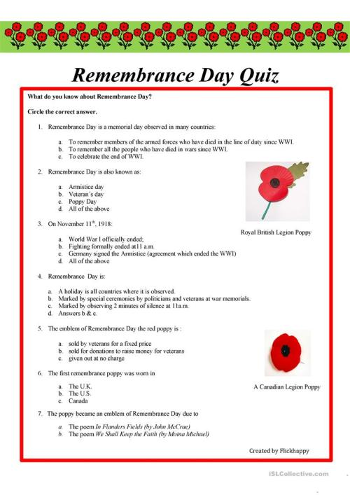 small resolution of Remembrance Day Quiz - English Esl Worksheets on Worksheets Ideas 3196