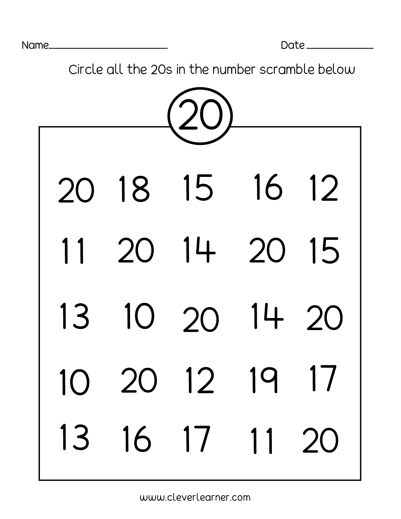 Number Recognition 11 20 Worksheet