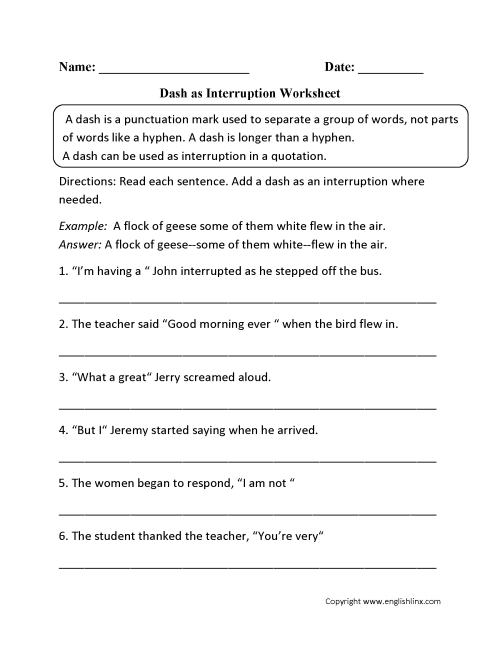 small resolution of Dash As Interruption Worksheet   Punctuation Worksheets on Worksheets Ideas  815