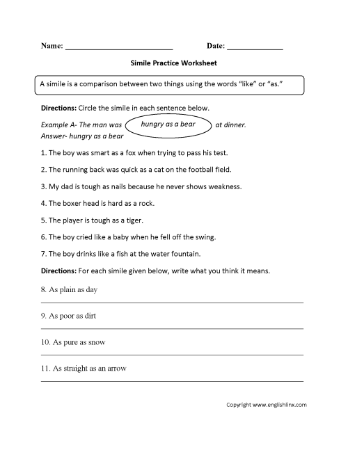 small resolution of Simile Figurative Language Worksheets   Figurative Language on Worksheets  Ideas 2808