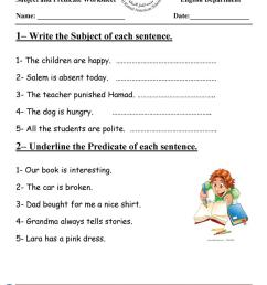 14 Best Subject And Predicate Worksheets Grade 3 images on Worksheets Ideas [ 1079 x 763 Pixel ]