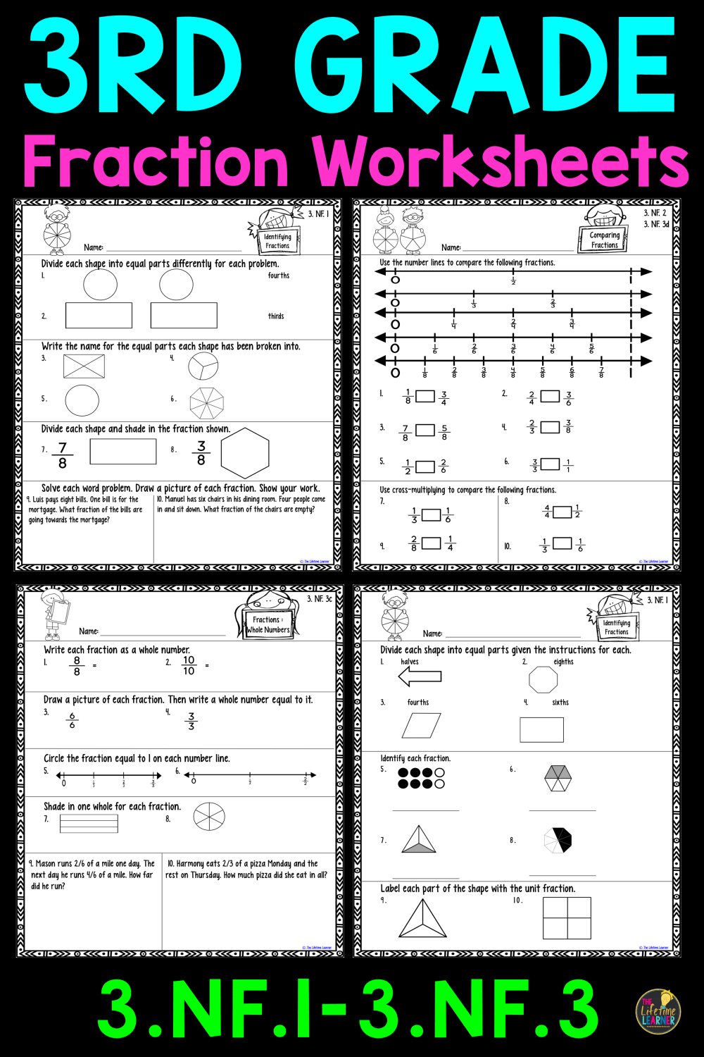 medium resolution of 21 Best 3rd Grade Fraction Practice Worksheets images on Worksheets Ideas