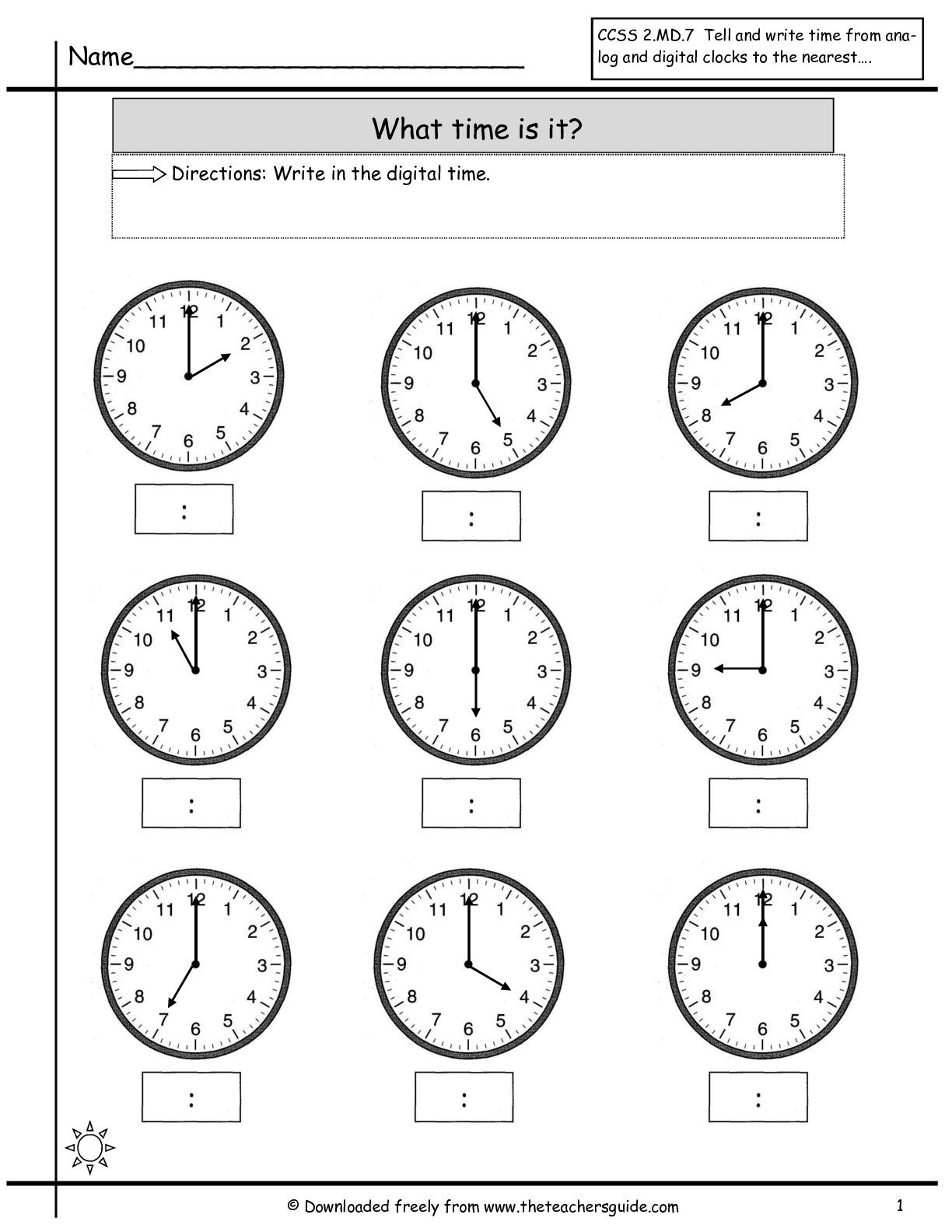 hight resolution of Telling Time Worksheets - O'clock And Half Past   2nd Grade on Worksheets  Ideas 5997