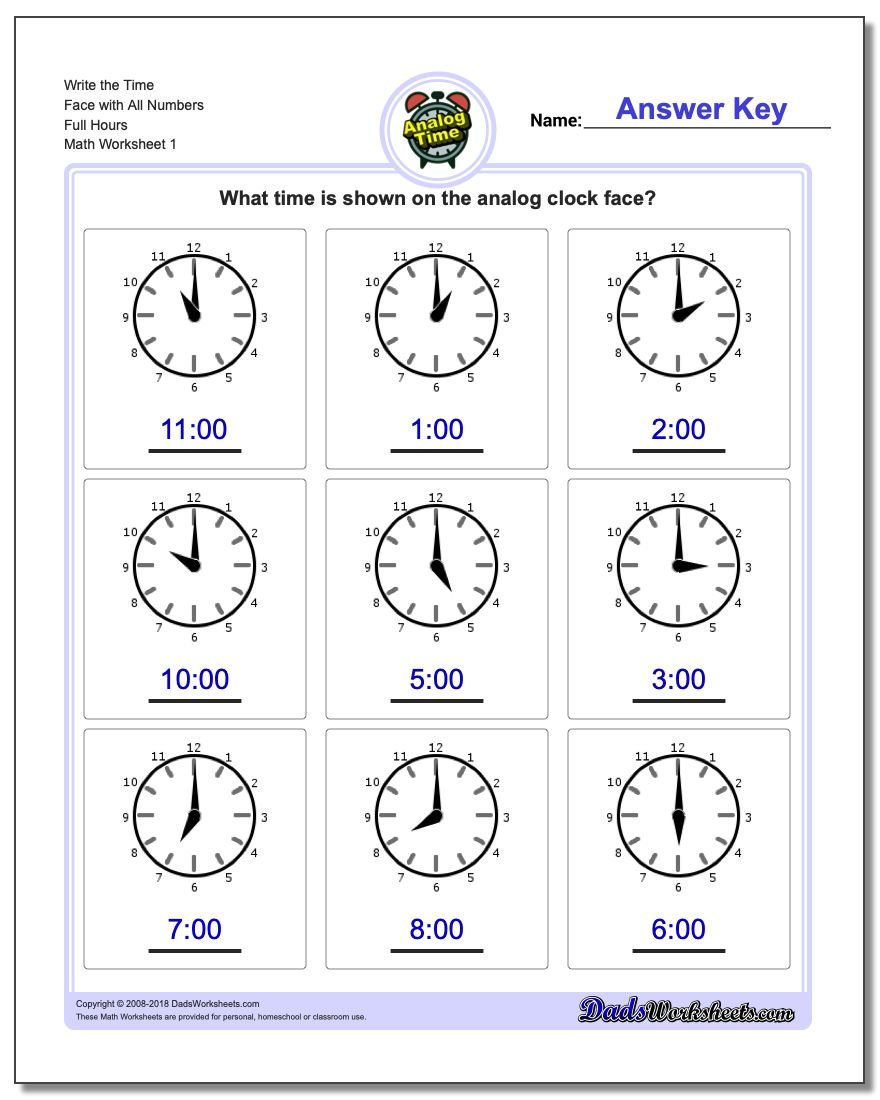 medium resolution of Telling Analog Time - Dad's Worksheets on Worksheets Ideas 7136