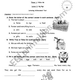 English Worksheets: Grade 1 Listening Text on Worksheets Ideas 4372 [ 1169 x 821 Pixel ]