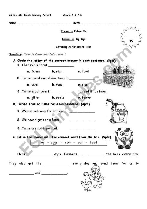 small resolution of English Worksheets: Grade 1 Listening Text on Worksheets Ideas 4372