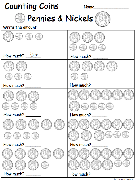 Counting Pennies And Nickels Worksheets For First Grade