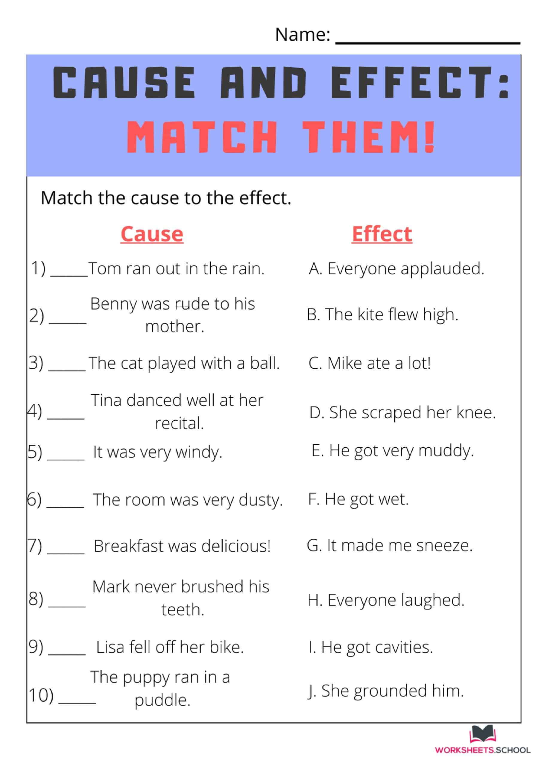 10 Free Cause And Effect Worksheets