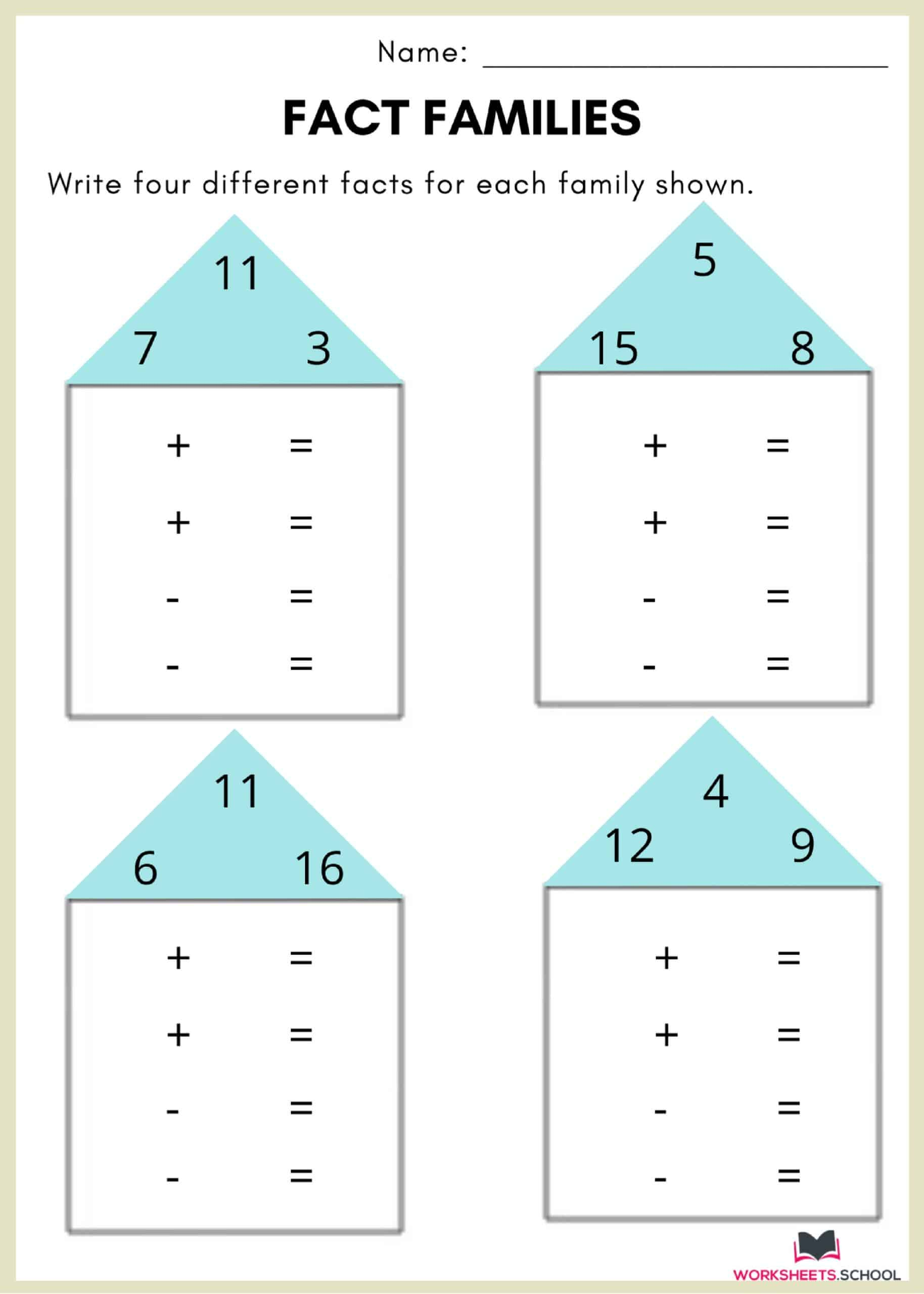 10 Fact Family Worksheets Multiplication Addition