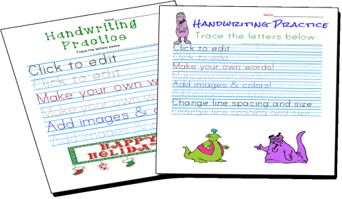 small resolution of Handwriting Practice and Copywork Worksheets Maker