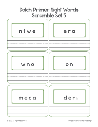 printable sight words for kindergarten