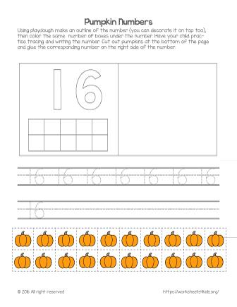 number 16 worksheet