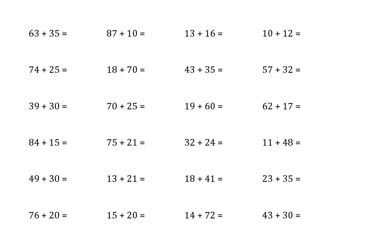 Download Free Printable 2 Digit Addition Horizontal