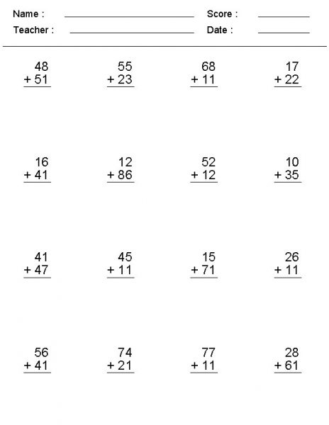 {Download PDF} Free Printable Double Digit Addition With