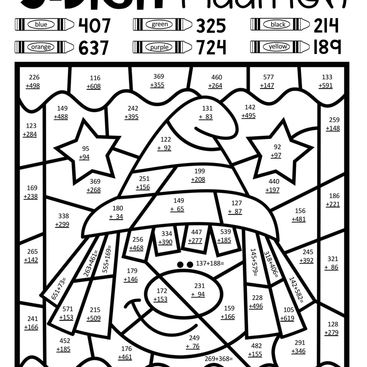 Free Addition Coloring Worksheets For Kindergarten