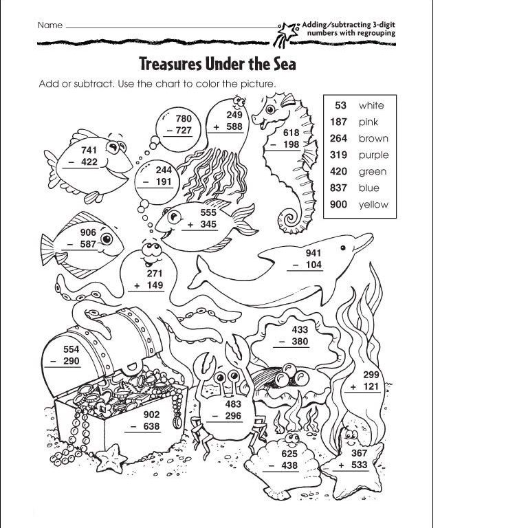3 digit addition and subtraction coloring worksheets