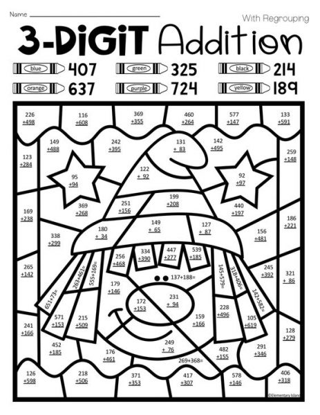 THREE DIGIT ADDITION COLORING WORKSHEETS