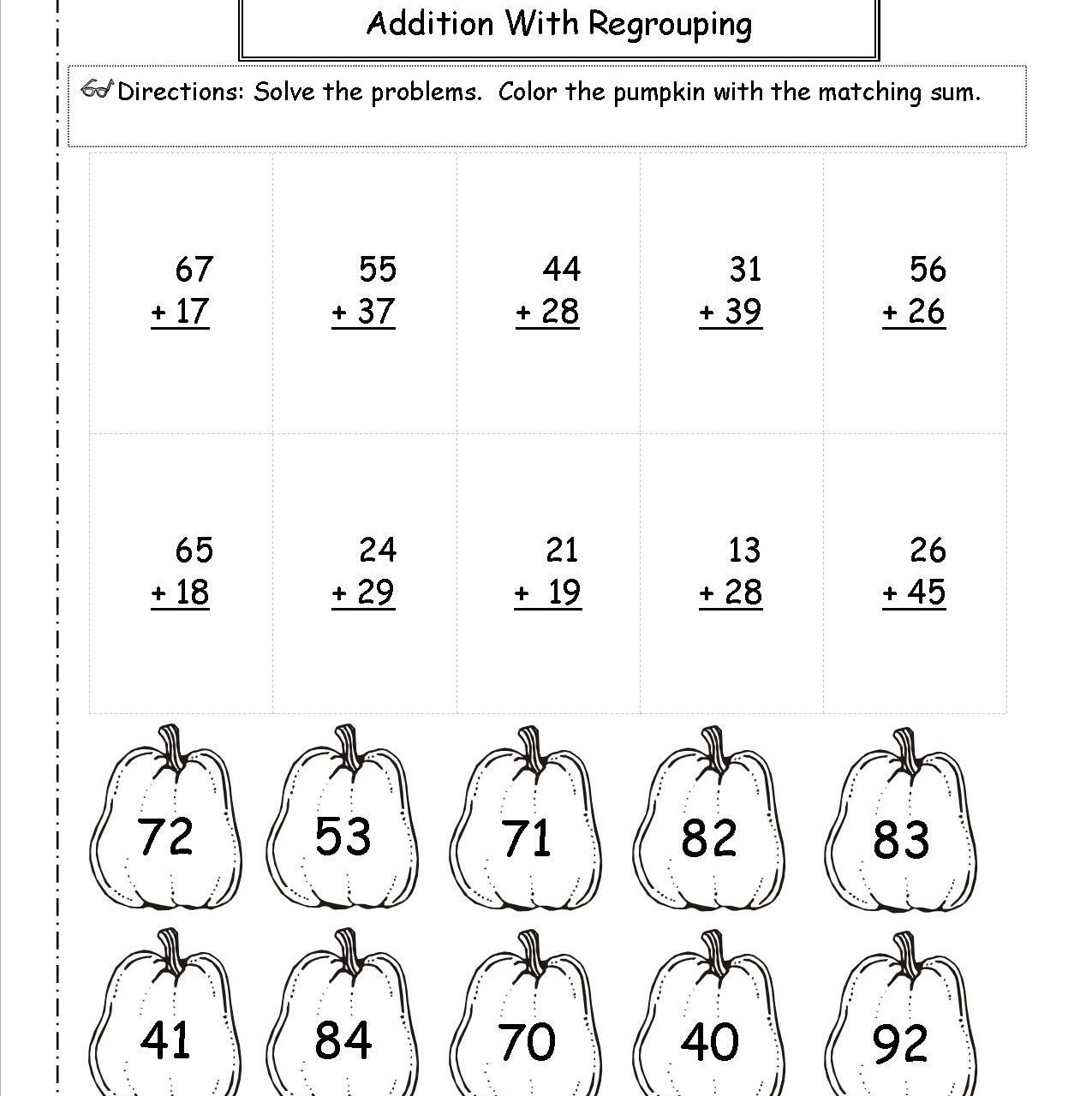 2 Digit Subtraction With Regrouping Coloring Worksheets