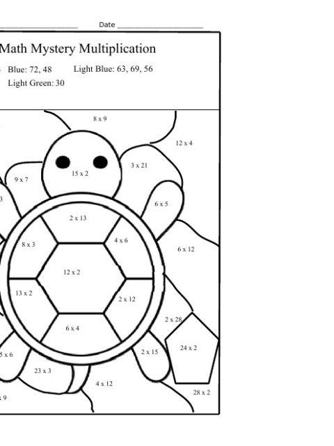 multiplication coloring worksheets grade 3 free